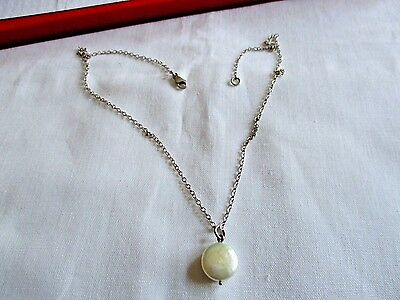 "925 Sterling Silver Small Pearl Pendant 16"" Chain Necklace"