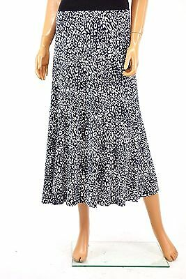 New JM Collection Womens Blue Animal Print Stretch Pull-On A-Line Summer Skirt S