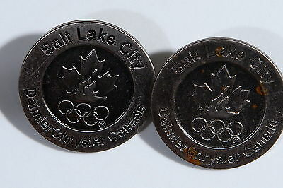 Salt Lake City Daimler Chrysler Usa Two Pair Olympic Rings Flame Lapel Pin Qb4