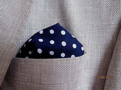 navy blue cotton pocket square handkerchief hanky  polka dot  unisex mod style