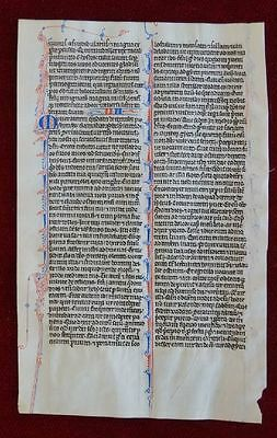 Bible Leaf- Medieval Manuscript Initial Virgin Vellum Paris France 1250 # B150