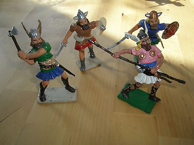 Aprox 50 Years Old Very Rare Hand Painted Vikings X 4 By Cherilea Toys Ltd
