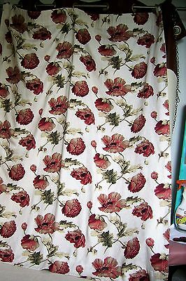 """Vintage Pair of Curtains In Ivory & Large Floral Pattern-55""""L X 45"""" W"""