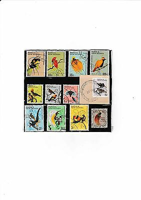 Papa & New Guinea Birds Mixed Collection Of Twelve Used Stamps