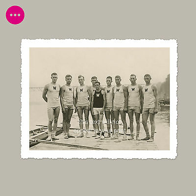 9 Handsome Rowers In Tight Shorts Gay Interest Bulge Beefcake Vintage Photo