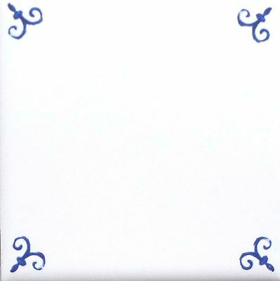 Blue Ox Tail Ceramic Tile Accent to Match Mural Kiln Fired Back Splash Delft