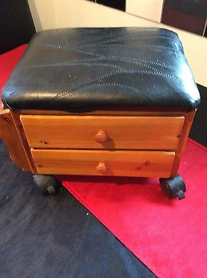 Small Vintage Wooden Storage Sewing Box  On Wheels