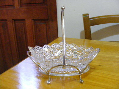 Vintage Silver Plated Stand with Pressed Glass Oval Bowl