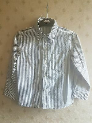 Lovely Boys White Grey Long Sleeved Striped Mothercare Shirt, size 4-5 years