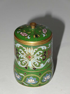 Antique Japanese Cloisonne Enamel Lotus Flower Design Green Miniature Pot