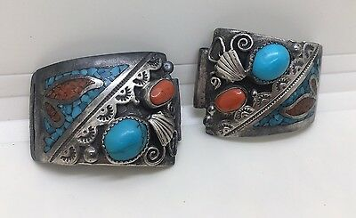 Old Pawn Navajo Handmade Sterling Silver Turquoise & Coral Watch Bands Tips