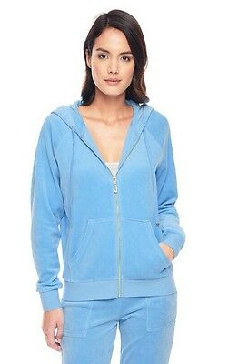 JUICY COUTURE J BLING RELAXED VELOUR Hoodie JACKET Porcelain Blue S BLACK LABEL
