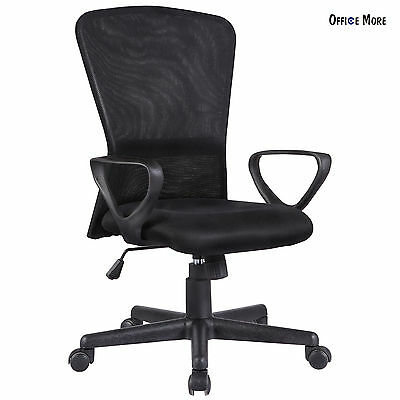 Ergonomic Executive Swivel Mid-Back Office Chair Computer Desk Black Mesh Chair