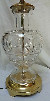WATERFORD Crystal CUT GLASS TABLE LAMP Baluster Shape BRASS BASE  #2