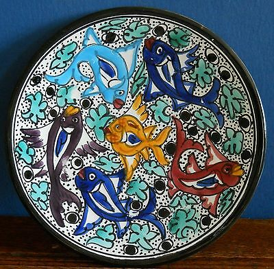 A vintage hand painted Spanish / Portuguese decorative plate fish design