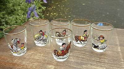 Norman Thelwell set of 6 vintage shot glasses depicting his famous pony cartoons