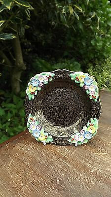 Vintage Tuscan Plant Floral china dish Black & Gold finish