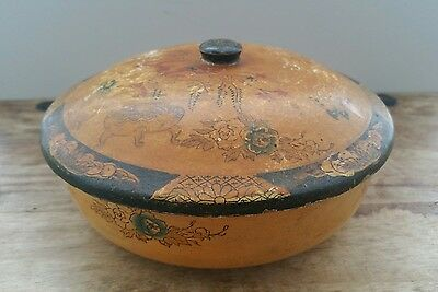 vintage Chinese or Japanese hand painted paper mache ? wooden ? bowl with lid