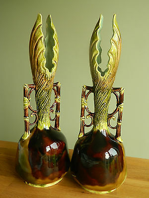 Antique c 1890 Austrian majolica pottery large pair of vases by Josef Strnact