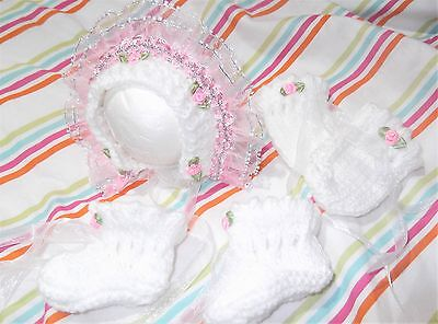 Bonnet mitten boots white set 4 baby / reborn handmade knit pink lace early baby