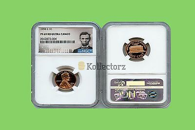 1998 S LINCOLN PENNY PROOF 1c NGC PF69 RD ULTRA CAMEO PORTRAIT LABEL