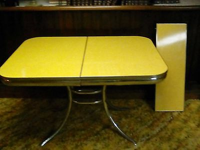 Vintage 50's midcentury formica and chrome table, yellow cracked ice, good cond.