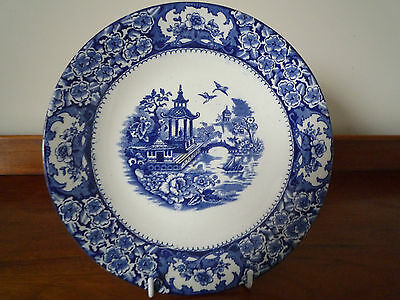 Vintage Olde Alton Ware blue and white willow pattern plate