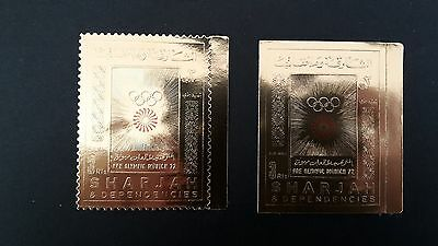 2 Timbres Or Sharjah  Pre Olympique Munich 1972