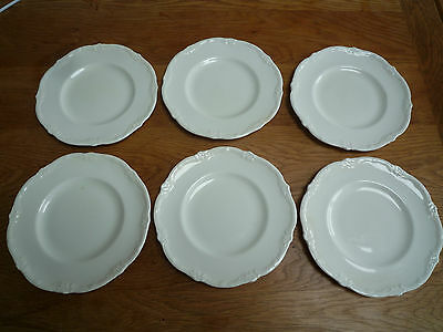 6 Art Nouveau Couldon 15.5cm white porcelain plates