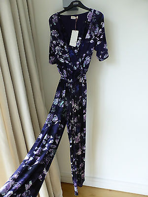 NEW MARKS AND SPENCER JERSEY FLORAL JUMPSUIT SIZE 8 Long