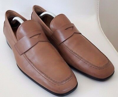 Tods Mens Tan Brown Leather Loafer Shoes Size 8