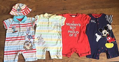 4 Boys Disney Romper Suits 9/12 Months
