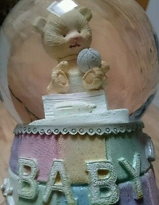 Lovely BABY snow globe with teddy bear and pastel colours