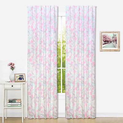 Pink and Mint Floral Window Drapery Panels - Set of Two 84 x 42 Inch Panels