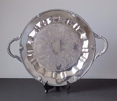 Antique Silver on Copper Silverplate Ornate Handled Round Serving Tray