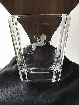 Vintage Kosta Glass Vase With Etched Horse And Rider Signed By Elis Bergh