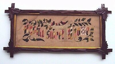 Antique Embroidered Paper Motto Sampler HOME SWEET HOME  Adirondack Wood Frame