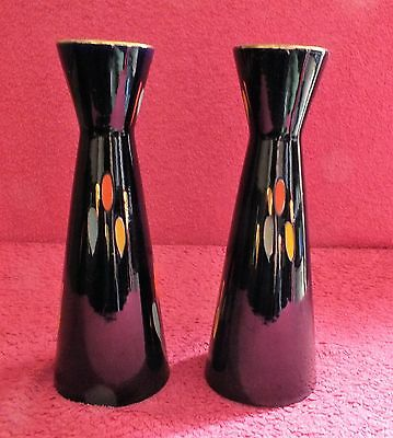 pair two vintage 50s 60s retro conical dark blue vases abstract design