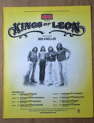 Kings Of Leon + Uk Tour Dates - 2003 - Original Advert Poster 31 X 25 Cm