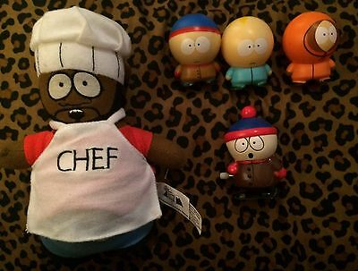 South Park lot of 5 Stan, Butters & Kenny, Chef Plush & Stan Wind Up Toy