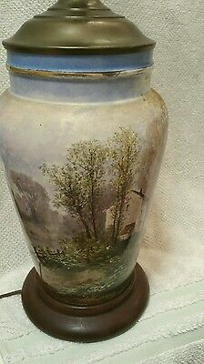 Lovely Antique Hand Painted Lamp Forest Lake Scene