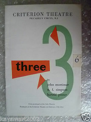 1961 Theatre Programme LUNCH HOUR,THE FORM,A SLIGHT ACHE-J Mortimer,N F Simpson