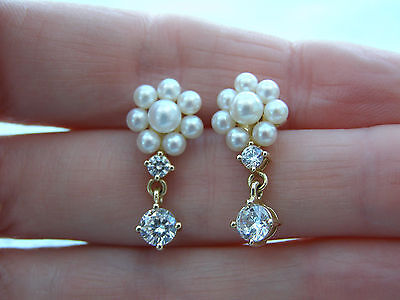 New Qvc14Ct  Diamonique Freshwater Pearl Cluster Drop Stud Earrings Yellow Gold
