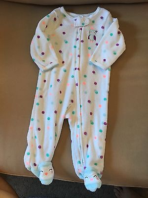 Carters Baby Girl Zipper Terry Pajamas with Owl 6 Months