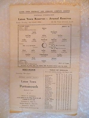 1956 LUTON TOWN Res. v ARSENAL Res., 2nd April (Single Sheet Combination).