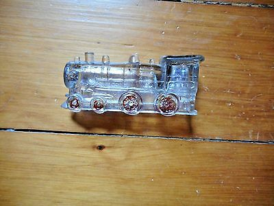 Vintage Railroad Locomotive Glass Candy Container
