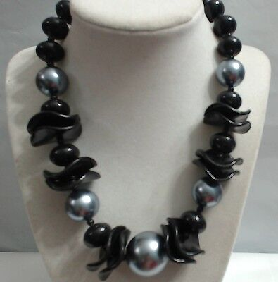 Vintage Black Lucite Beads Wavy Wafer Steel Blue Coated Gumball Bead Necklace