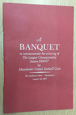 Original 1967 Menu - MANCHESTER UNITED League Champions Dinner -Signed by payers