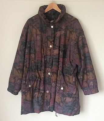 Oversized Puffa Jacket Coat 70s 80s Vintage Retro Print