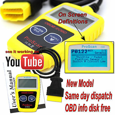 Vauxhall Vectra Car OBD2 EOBD CAN BUS Fault Code Reader Scanner diagnostic tool